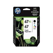 HP 67XL/67 Black High Yield and Tri-Color Standard Yield Ink Cartridge, 2/Pack (3YP30AN#140)