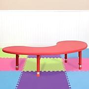 "Flash Furniture 14 1/2"" - 23 3/4"" H x 35"" W x 65"" D Plastic Half-moon Activity Table, Red"