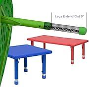 "Flash Furniture Height-Adjustable Rectangular Activity Table, Green, 14 1/2"" - 23 3/4""H x 24""W x 48""D"