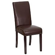 Flash Furniture Leather Parsons Chair, Dark Brown