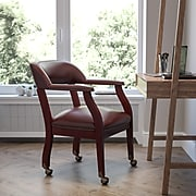 Flash Furniture Vinyl Mid Back Luxurious Conference Chair With Casters, Oxblood