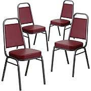 Flash Furniture HERCULES Series Vinyl Trapezoidal Banquet Stack Chair, Burgundy (4FDBHF1SVBY)