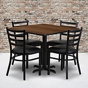"""Flash Furniture 36"""" Square Walnut Laminate Table Set With 4 Ladder Back Metal Chairs, Black (HDBF1016)"""