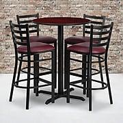 "Flash Furniture 30"" Mahogany Laminate Table Set With 4 Ladder Back Metal Bar Stools, Burgundy (HDBF1026)"