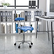 Flash Furniture Chrome Low Back Computer Task Chair With Tractor Seat, Vibrant Bright Blue