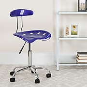 Flash Furniture Chrome Low Back Computer Task Chair With Tractor Seat, Vibrant Deep Blue