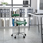 Flash Furniture Chrome Low Back Computer Task Chair With Tractor Seat, Vibrant Green