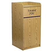 Flash Furniture 36 gal. Wood Tray Trash Can with Lid, Oak