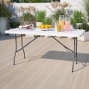 """Flash Furniture 29""""H x 60""""L x 30""""D Blow Molded Granite Plastic Folding Table, White"""