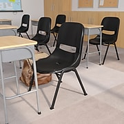Flash Furniture HERCULES Plastic Shell Stack Chair, Black (RUT-EO1-BK-GG)