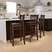 Flash Furniture HERCULES™ Mahogany Vertical Slat Back Wood Restaurant Bar Stool, Black