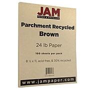 JAM Paper Parchment 24lb Paper, 8.5 x 11, Brown Recycled, 100 Sheets/Pack (96600300)