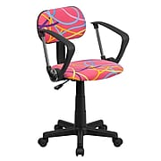 Flash Furniture Fabric Swirl Printed Pink Computer Chair With Arms, Multi-Colored