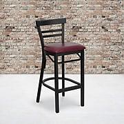 Flash Furniture HERCULES Black Ladder Back Metal Restaurant Bar Stool W/Vinyl Seat, Burgundy