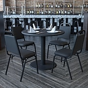 Flash Furniture 36'' Round Black Laminate Table Set W/4 Black Trapezoidal Back Banquet X-Base Chairs (HDBF1001)