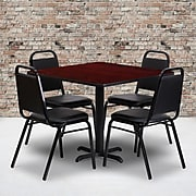 Flash Furniture 36'' Square Table Set W/4 Trapezoidal Back Banquet X-Base Chairs (HDBF1010)