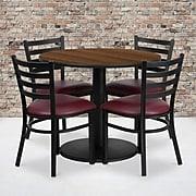 Flash Furniture 36'' Round Walnut Laminate Table Set W/4 Ladder Back Burgundy Vinyl Seat Chairs (RSRB1008)