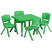 """Flash Furniture 24"""" Square Adjustable Plastic Activity Table Set W/4 School Stack Chairs (YCX23SQTBLGNE)"""