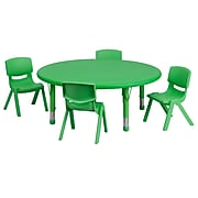 Flash Furniture 45'' Round Adjustable Plastic Activity Table Set with 4 School Stack Chairs, Green (YCX53RNDTBLGNE)