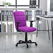 Flash Furniture Mid-Back Quilted Vinyl Task Chair With Nylon Arms, Purple