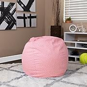 Flash Furniture Cotton Twill Small Dot Kids Bean Bag Chair, Light Pink
