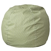 Flash Furniture Cotton Twill Small Dot Kids Bean Bag Chair, Green