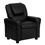 Flash Furniture Contemporary Vinyl Kids Recliner W/Cup Holder and Headrest, Black