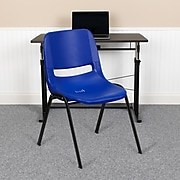 """Flash Furniture Hercules Shell Ergonomic Stack Chair With Black Frame and 16"""" Seat, Navy"""