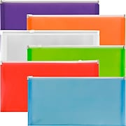 "JAM Paper Plastic Zip #10 Booklet Envelopes, 5"" x 10"", Assorted Colors, 6/Pack (921Z1RBGOPCL)"