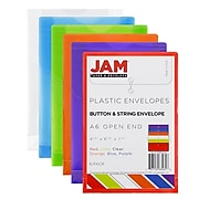 JAM Paper® Plastic Envelopes with Button and String Tie Closure, Open End, 4.25 x 6.25, Assorted Colors, 6/Pack (473B1ASSRTD)