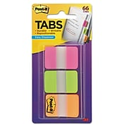 """Post-it® Tabs, 1"""" Wide, Solid, Assorted Colors, 66 Tabs,Dispenser (686-PGO)"""