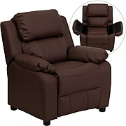 Flash Furniture Deluxe Contemporary Heavily Padded Leather Kids Recliner W/Storage Arms, Brown