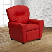 Flash Furniture Contemporary Vinyl Kids Recliner W/Cup Holder; Red