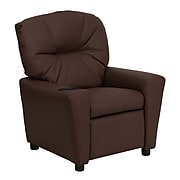Flash Furniture Contemporary Leather Kids Recliner W/Cup Holder; Brown