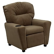 Flash Furniture Contemporary Microfiber Kids Recliner W/Cup Holder; Brown