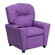 Flash Furniture Contemporary Vinyl Kids Recliner W/Cup Holder, Lavender