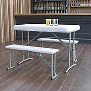 Flash Furniture Rectangle Folding Table, Granite White (DADYCZ103)