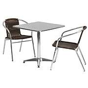 Flash Furniture Patio Table with 2 Rattan Chairs, Dark Brown (TLH28SQ020CHR2)