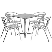 Flash Furniture 27.5'' Square Aluminum Indoor/Outdoor Table w/4 Slat-Back Chairs (TLH28SQ017BCHR4)