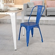 Flash Furniture Metal Indoor/Outdoor Stackable Chair, Blue (CH31230BL)