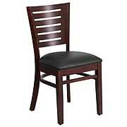 Flash Furniture Darby Series Slat-Back Wood Restaurant Chair, Walnut Finish w/Black Vinyl Seat