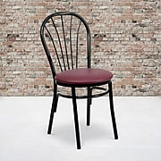 Flash Furniture  Hercules Series Fan Back Metal Chair; Burgundy Vinyl Seat, 2/Box (XU698BBGV)