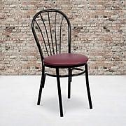 Flash Furniture  Hercules Series Fan Back Metal Chair; Burgundy Vinyl Seat, 2/Box (XU698BBGV)