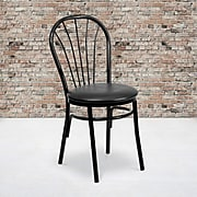 Flash Furniture  Hercules Series Fan-Back Metal Chair; Black Vinyl Seat (XU698BBLKV)
