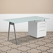 """Flash Furniture 59"""" Glass Glass Computer Desks Frosted Top/White Finish (NANWK021)"""