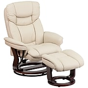 Flash Furniture Contemporary Leathersoft Recliner and Ottoman, Beige w/Swiveling Mahogany Wood Base (BT7821BGE)