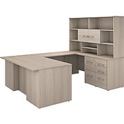 """Bush Business Furniture Office 500 71"""" U-Shaped Desk with Drawers and Hutch, Sand Oak (OF5003SOSU)"""