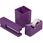 JAM Paper® Desk Supplies Kit, Purple, Stapler, Tape Dispenser & Pen Holder, 3/Pack (337841PU)