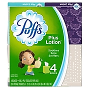 Puffs Plus Lotion Facial Tissues, 2-Ply, 56 Sheets/Box, 4 Boxes/Pack (34899)