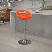 "Flash Furniture 33"" Contemporary Orange Plastic Adjustable Height Barstool w/Chrome Base, 2bx"